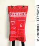 Small photo of fire blanket in physics laboratory at elementary school