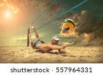 beach volleyball player in... | Shutterstock . vector #557964331
