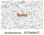 hand drawn set of building... | Shutterstock .eps vector #557968657