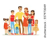 happy big caucasian family with ... | Shutterstock .eps vector #557973049