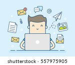 email concept with man and... | Shutterstock .eps vector #557975905