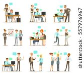 big boss managing and... | Shutterstock .eps vector #557976967