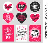 Stock vector happy valentines day typography set with hand drawn lettering vector calligraphy for greeting 557979514