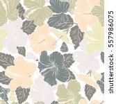tropical flowers  hibiscus... | Shutterstock .eps vector #557986075