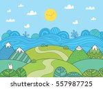 Stock vector cute cartoon meadow with mountain river and bunny 557987725