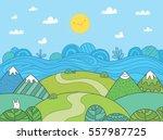 cute cartoon meadow with... | Shutterstock .eps vector #557987725