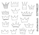 set of hand drawn crowns in... | Shutterstock .eps vector #557988229