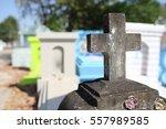 Stone Crosses In A Cemetery