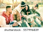 group of urban style friends... | Shutterstock . vector #557996839