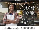 black male business owner... | Shutterstock . vector #558005005