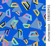 vector pattern 80s. geometric... | Shutterstock .eps vector #558030931