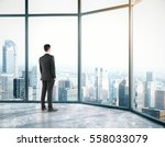 businessman in room with city... | Shutterstock . vector #558033079
