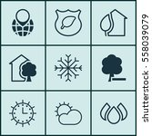 Set Of 9 Eco Icons. Includes...