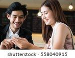 asia businessman show smart... | Shutterstock . vector #558040915