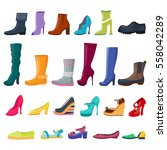Set Of Colorful Shoes And Boot...