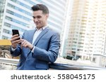 westerner business man talking... | Shutterstock . vector #558045175