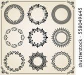 vintage set of round elements.... | Shutterstock .eps vector #558049645