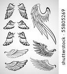 set of wings | Shutterstock .eps vector #55805269