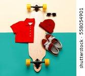 skateboard set. accessories.... | Shutterstock . vector #558054901