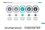 five hexagons diagram slide... | Shutterstock .eps vector #558058789