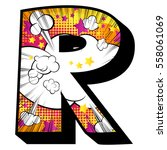 letter r filled with comic book ... | Shutterstock .eps vector #558061069
