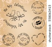 grunge stamps for valentine day ... | Shutterstock .eps vector #558063415