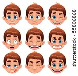 boy expressions. funny cartoon...