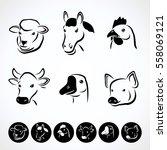 farm animals set. vector | Shutterstock .eps vector #558069121