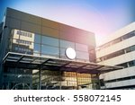 blank white round signage... | Shutterstock . vector #558072145