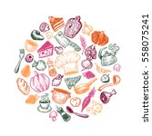 hand drawn vector cooking and... | Shutterstock .eps vector #558075241