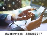 modern communication technology ... | Shutterstock . vector #558089947