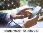 modern communication technology ... | Shutterstock . vector #558089947