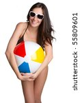 Smiling Girl Holding Beach Ball