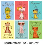 vector cards with cute cats and ... | Shutterstock .eps vector #558104899