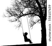 Little Girl On Swing Under A...