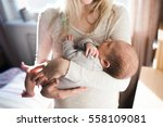 unrecognizable young mother... | Shutterstock . vector #558109081
