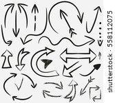 hand drawn arrows. vector set... | Shutterstock .eps vector #558112075