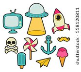 pop and fun art patches   Shutterstock .eps vector #558120811