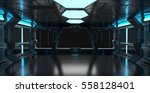 spaceship blue interior with... | Shutterstock . vector #558128401