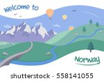illustration for norway tourism ... | Shutterstock .eps vector #558141055