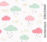 Vector Kids Pattern With Cloud...