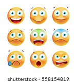 set of cute emoticons on white... | Shutterstock .eps vector #558154819