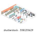 isometric interior of shopping... | Shutterstock .eps vector #558155629