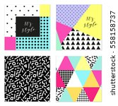 set of four 80's style posters... | Shutterstock .eps vector #558158737