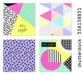 set of four 80's style posters... | Shutterstock .eps vector #558158851