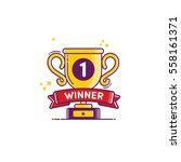 vector winner golden cup icon   Shutterstock .eps vector #558161371