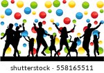 dancing family silhouettes. | Shutterstock .eps vector #558165511