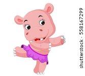 hippo dancing | Shutterstock .eps vector #558167299