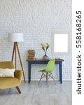modern white brick wall and... | Shutterstock . vector #558168265