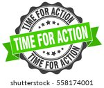 time for action. stamp. sticker.... | Shutterstock .eps vector #558174001